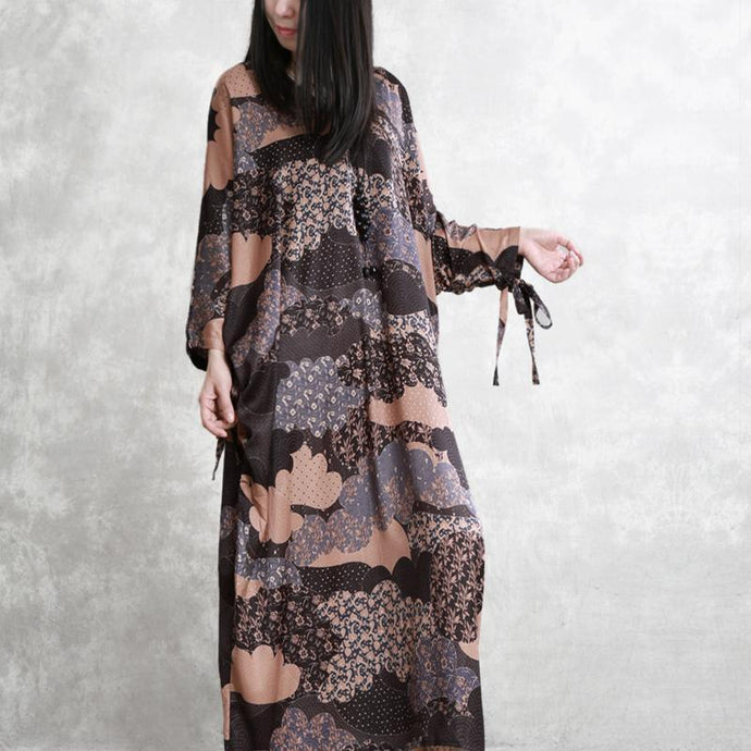 Classy batwing sleeve silk dresses plus size Wardrobes chocolate prints long Dresses summer