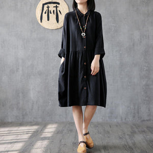 Classy black linen clothes For Women lapel wrinkled Plus Size Clothing Dress