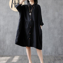 Load image into Gallery viewer, Classy black linen clothes For Women lapel wrinkled Plus Size Clothing Dress