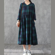 Load image into Gallery viewer, Classy blackish green plaid cotton linen clothes v neck patchwork long Dresses