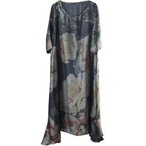 Classy blended clothes Indian Floral Print Loose Half Sleeve Dress