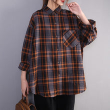 Load image into Gallery viewer, Classy blue plaid cotton tunic top lapel Button Down cotton top