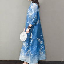 Load image into Gallery viewer, Classy bracelet sleeved linen prints Wardrobes Inspiration blue Dresses