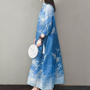 Classy bracelet sleeved linen prints Wardrobes Inspiration blue Dresses