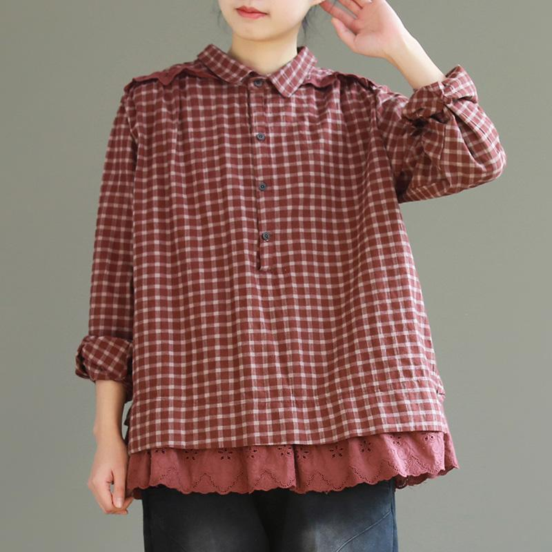 Classy burgundy  cotton tunics for women Vintage Inspiration lapel collar silhouette plaid blouse