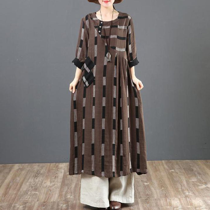 Classy cotton chocolate clothes Fitted Cotton Linen Asymmetrical Long Sleeve Dress