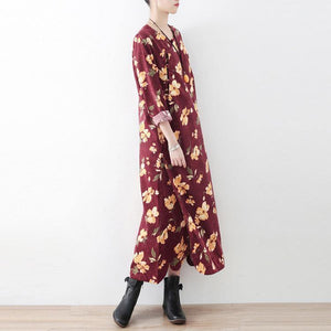 Classy cotton clothes For Women Korea O neck Chinese Button Neckline burgundy print Maxi Dresses
