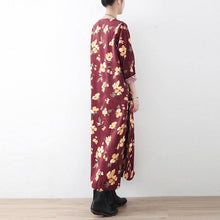 Load image into Gallery viewer, Classy cotton clothes For Women Korea O neck Chinese Button Neckline burgundy print Maxi Dresses