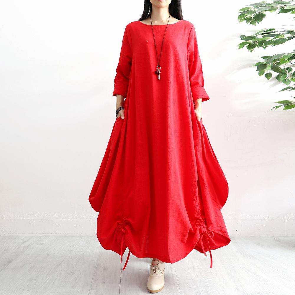 Classy drawstring hem linen clothes Work red long sleeve Dresses autumn