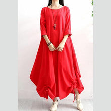Load image into Gallery viewer, Classy drawstring hem linen clothes Work red long sleeve Dresses autumn