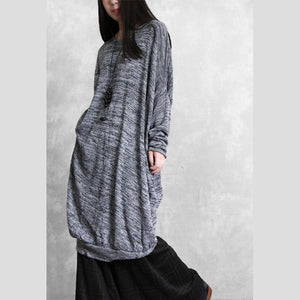Classy gray Cotton outfit o neck asymmetric tunic spring Dresses