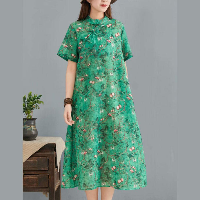 Classy green print silk linen outfit stand collar Chinese Button baggy summer Dress