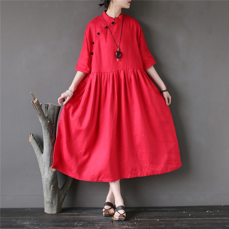 Classy half sleeve linen summer clothes For Women Tutorials red Dresses