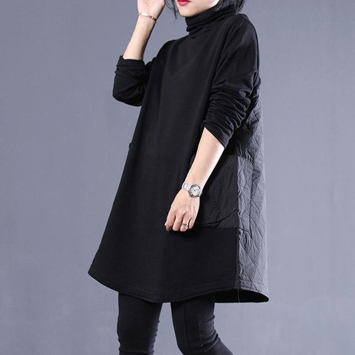 Classy high neck Cotton winter Tunics linen black Dresses