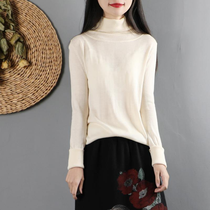 Classy high neck cotton fall clothes Cotton white blouses