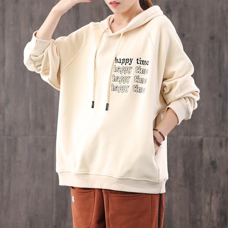 Classy hooded alphabet cotton crane tops Work nude blouses
