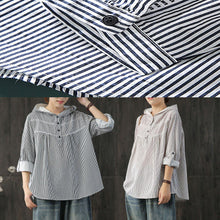 Load image into Gallery viewer, Classy hooded cotton clothes Neckline black striped shirt fall