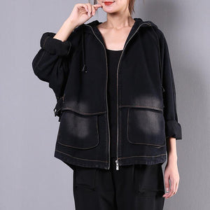 Classy hooded embroidery Fine outfit denim black silhouette jackets