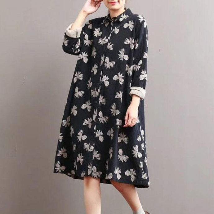 Classy lapel collar linen fall dresses Wardrobes floral Dress