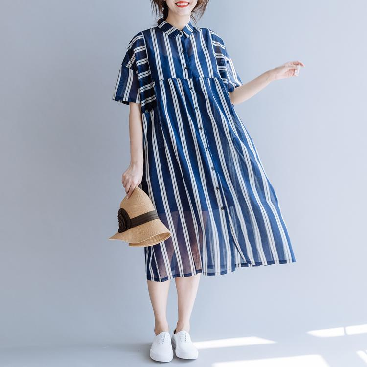 Classy lapel patchwork linen clothes Photography blue striped Dresses summer