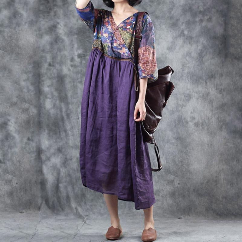 Classy linen Print V-Neck dress Metropolitan Museum RamieDrawstring Pockets Purple Loose Dress