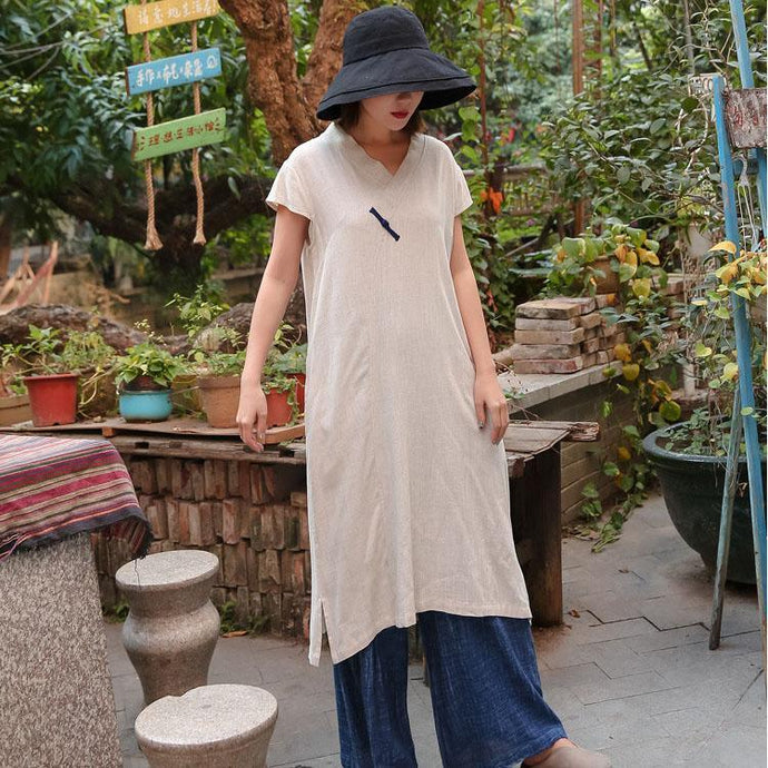 Classy nude cotton linen quilting clothes v neck side open Chinese Button A Line summer Dresses