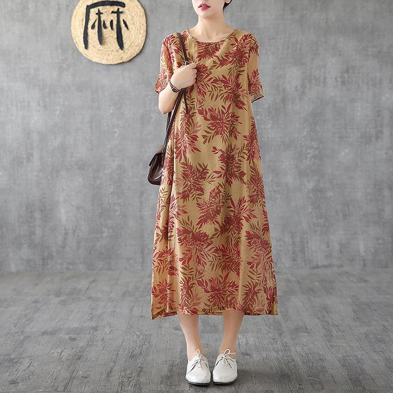 Classy o neck short sleeve linen dresses design khaki print Dress