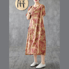 Load image into Gallery viewer, Classy o neck short sleeve linen dresses design khaki print Dress