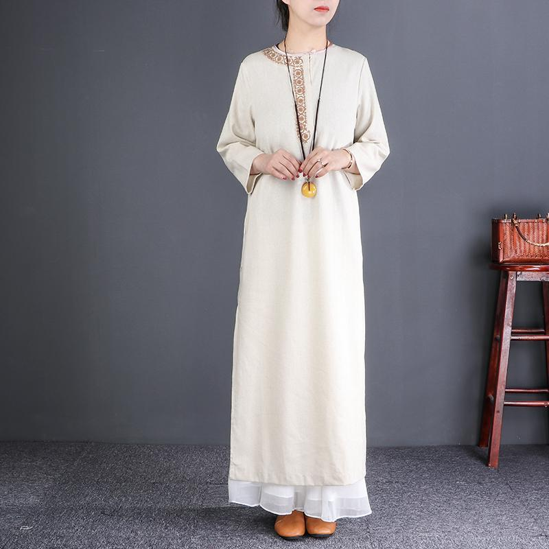 Classy o neck side open linen dress Fine pattern beige linen robes Dresses