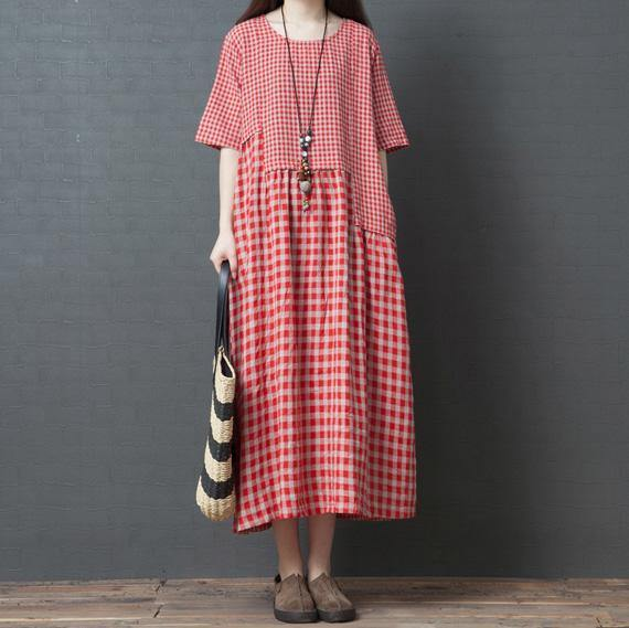 Classy pockets patchwork cotton tunic pattern Work Outfits red Plaid cotton robes Dresses summer