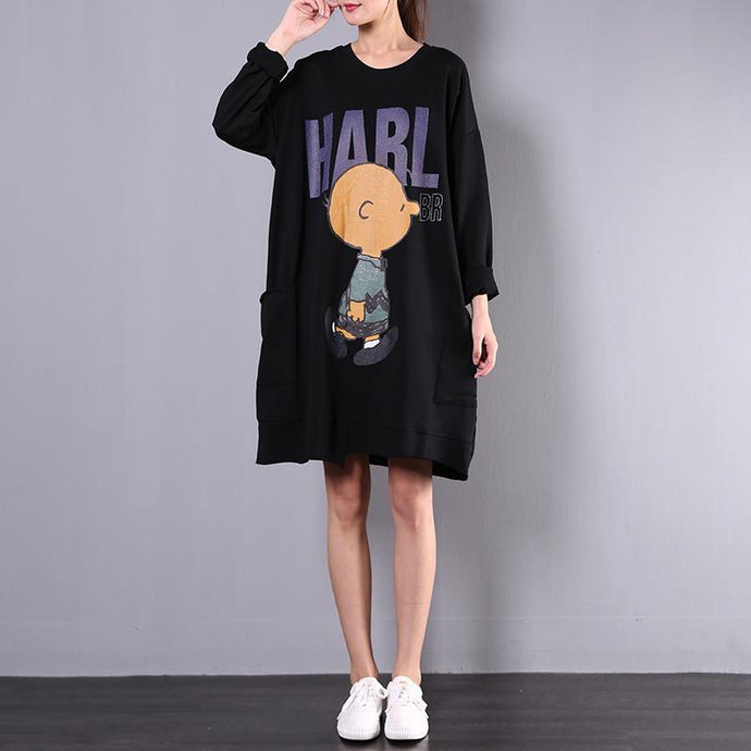 Classy prints Cotton Long Shirts Inspiration black Dress fall