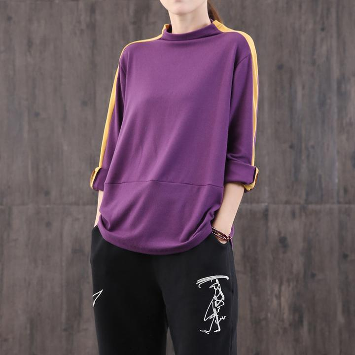 Classy purple cotton tops women high neck patchwork Midi top
