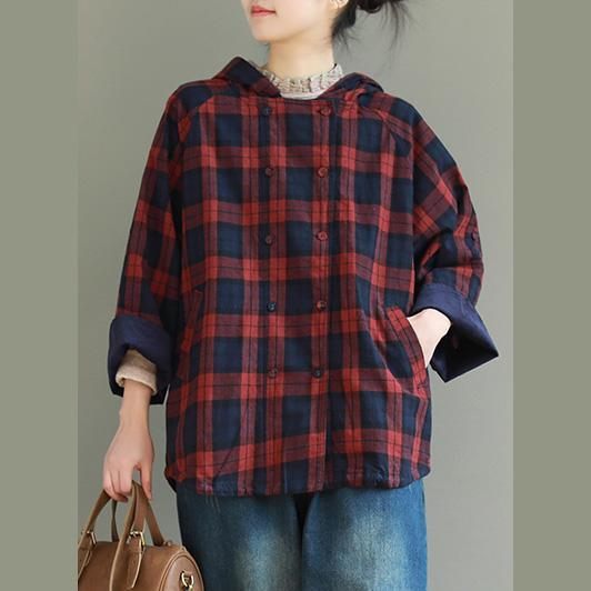 Classy red Plaid cotton linen clothes For Women stylish Shirts hooded double breast Knee top