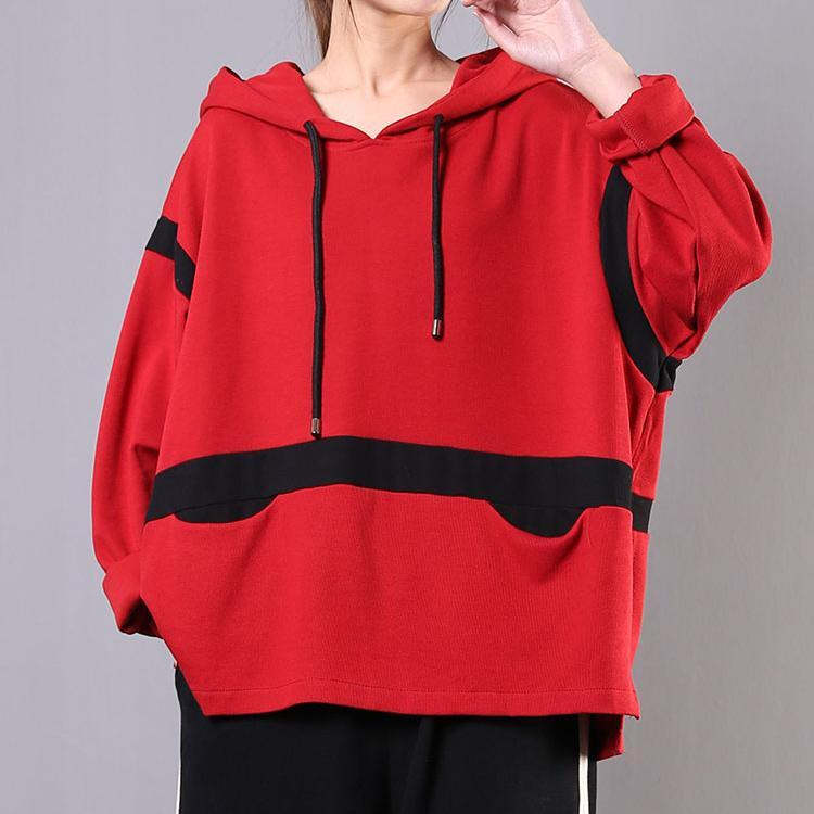Classy red cotton blouses for women patchwork hooded silhouette shirt