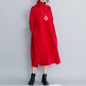 Classy red cotton outfit Boho Outfits loose high neck patchwork Dresses