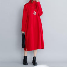 Load image into Gallery viewer, Classy red cotton outfit Boho Outfits loose high neck patchwork Dresses