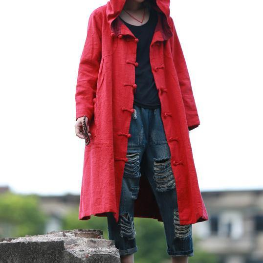 Classy red hooded Fashion tunic coats Outfits Chinese Button fall jackets