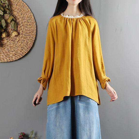 Classy ruffles o neck linen long sleeve tunics for women Outfits yellow shirts