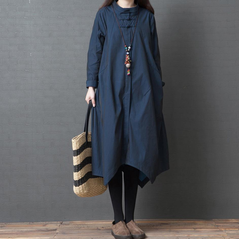 Classy shirt cotton outfit Sweets Fashion Ideas navy A Line Dress long sleeve
