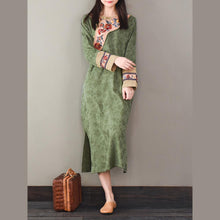 Load image into Gallery viewer, Classy side open cotton patchwork Tunics linen green jacquard Dress