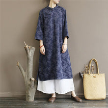 Load image into Gallery viewer, Classy side open cotton stand collar Tunic Work Outfits blue jacquard long Dresses