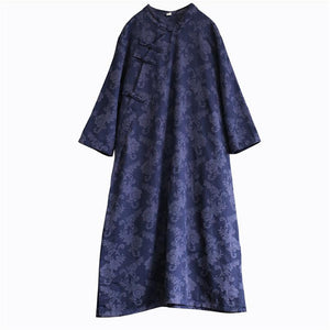 Classy side open cotton stand collar Tunic Work Outfits blue jacquard long Dresses