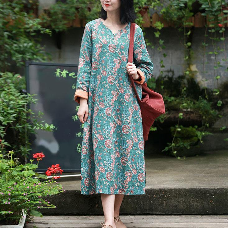 Classy side open linen clothes Shirts green prints Dress fall