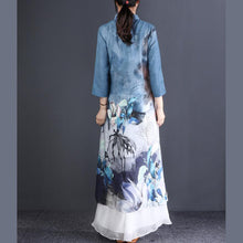 Laden Sie das Bild in den Galerie-Viewer, Classy stand collar linen clothes Women Sewing blue print Maxi Dress