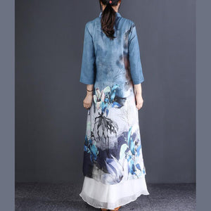 Classy stand collar linen clothes Women Sewing blue print Maxi Dress