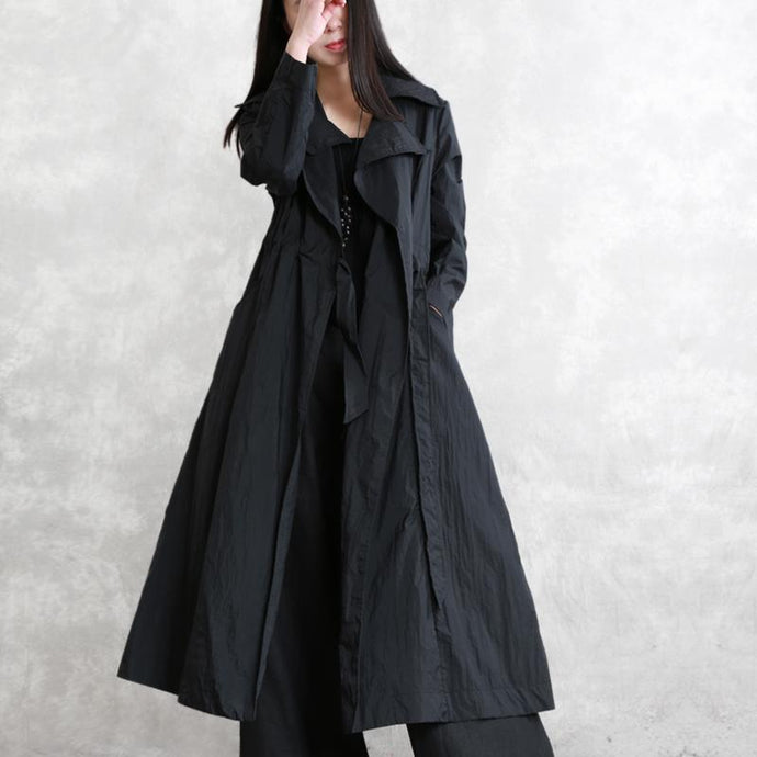 Classy tie waist cotton clothes For Women plus size design black long coat spring