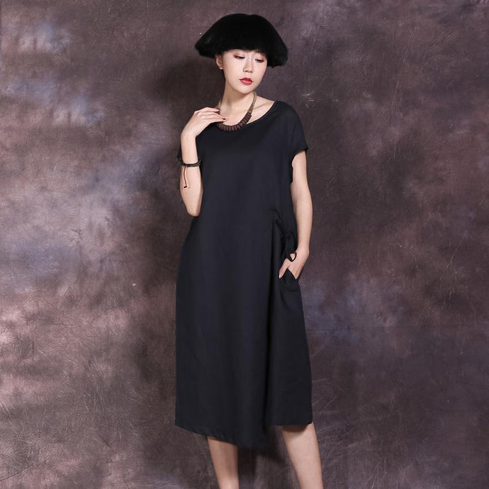 Classy tie waist linen Long Shirts Runway black Dress summer