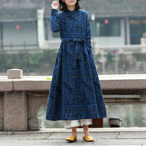 Classy tie waist linen spring clothes design blue prints Dress