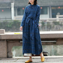 Load image into Gallery viewer, Classy tie waist linen spring clothes design blue prints Dress