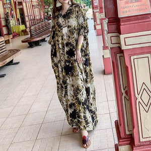 Classy v neck Batwing Sleeve summer Tunics Photography yellow print Maxi Dress